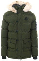 Siksilk Khaki Puff Parka Padded Fur Hood Jacket