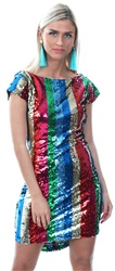 Wal/G Multi Rainbow Stripe Sequin Dress