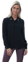 Only Black Loose Long Sleeved Embellished Shirt
