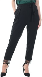 Style London Black High Waist Lace Trim Trousers