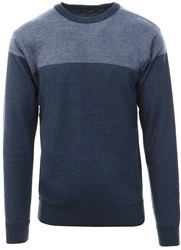 Brave Soul Blue Mix Percy Knitted Crew Sweater