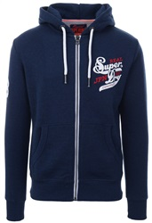 Superdry Blue Grit Japan Zip Up Hoodie
