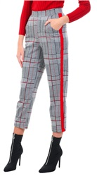 Missi Lond Grey Checked Red Tape Trouser