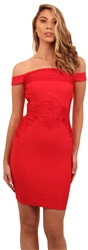 Lipsy Red Bardot Bodycon Dress