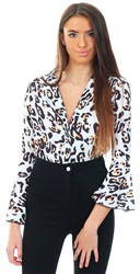 Parisian Multi Leopard Wrap Over Bodysuit