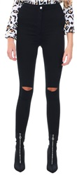 Parisian Black Knee Split Skinny Jean