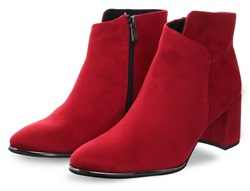 Marco Tozz Red Seude Block Heel Boot