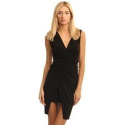 Wal/G Black V Neck Mini Wrap Crepe Dress