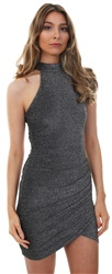Ax Paris Black/Silver Sparkle High Neck Dress