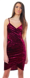 Ax Paris Plum Crushed Velvet Wrap Over Dress
