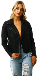 Black Leather-Look Pu Jacket by Noisy May