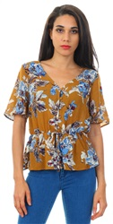 Brave Soul Mustard Bella Floral Print Frill Button Top