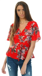 Brave Soul Red Bella Floral Print Frill Button Top