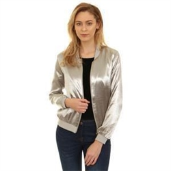 Parisian Silver Zip Up Bomber Jacket