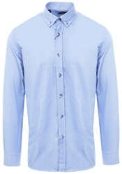 Blue Small Check Print L/Sleeve Shirt by Ottomoda