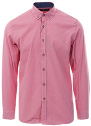 Ottomoda Red Small Check Print L/Sleeve Shirt