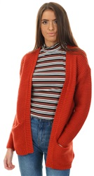 Veromoda Ketchup Red Long Knitted Cardigan