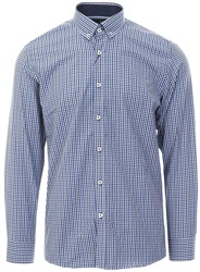 Ottomoda Navy /White Checked Print L/Sleeve Shirt