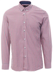 Ottomoda Red / Navy Checked Pattern L/Sleeve Shirt