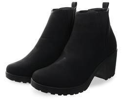 Black Pu Slip On Block Heel Ankle Boot by Krush