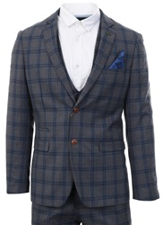 Marc Darcy Grey Check Logan Suit With Double Breasted Waistcoat