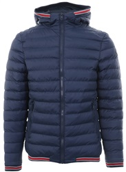 Threadbare Navy Harley Trim Padded Jacket