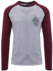 Threadbare Grey Marl Contrasting L/Sleeve T-Shirt