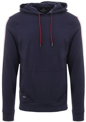 Threadbare Navy Pullover Fleece Tape Hoodie