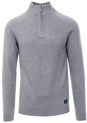 Holmes & Co Grey Marl 1/4 Zip Knit Sweater