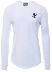Siksilk White Long Sleeve Fitted Gym Tee