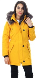Only Golden Yellow Solid Parka Fur Hood Coat