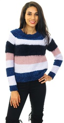 Only Blue Print Joelle Striped Knit Pullover