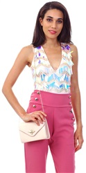 Missi Lond Pink Two Tone Sequin Bodysuit