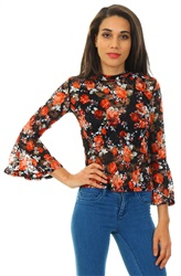 Qed Rust Floral Lace Frill Long Sleeve Top