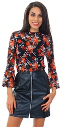 Influence Black PU Faux Leather Zip Up Mini Skirt