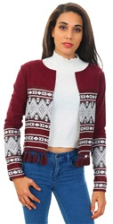 Style London Burgandy Embroidered Tassel Jacket