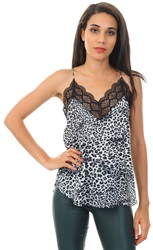 Style London Grey Leopard Lace Trim Cami Top