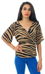 Missi Lond Black/Brown Zebra Wrap Short Frill Sleeve Top