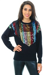 Qed Black Multi Sequin Knitted Crew Jumper
