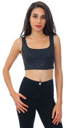 Lasula Black / Silver Metallic Crop Sleeveless Top