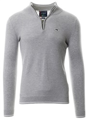 Le Shark Light Silver Long Sleeve Rodmell Zip Knit Sweater