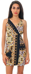 Pretty Darling Black / Gold Scarf Chain Print Wrap Mini Dress