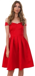 Chichi Red Jade Bardot Frill Dress