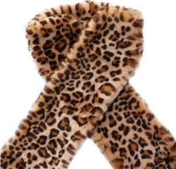 Impulse Leopard Print Faux Fur Long Scarf