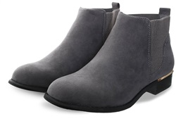 Krush Grey Suede Textured Slip On Ankle Boot