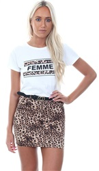 Parisian Brown Leopard Print Fitted Skirt