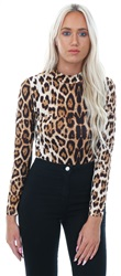 Cutie London Brown Leopard Printed Fitted Bodysuit