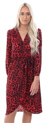 Ax Paris Red Animal Print Tie Waist Dress