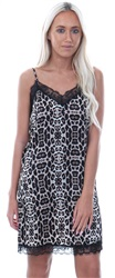 Jdy Leopard Fun Lace Trim Silk Dress