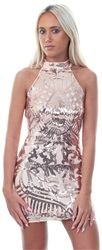 Parisian Rose Gold High Neck Sequin Dress